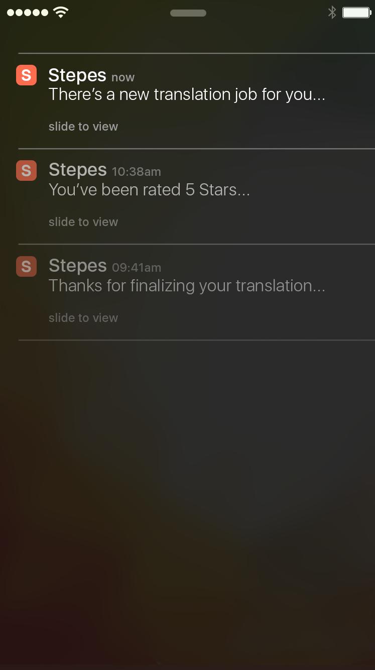 Stepes Notification